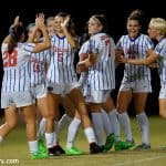 The Florida Gators soccer team celebrate one of their four goals in a shutout win over Arkansas on senior night- Florida Gators soccer- 1280x852