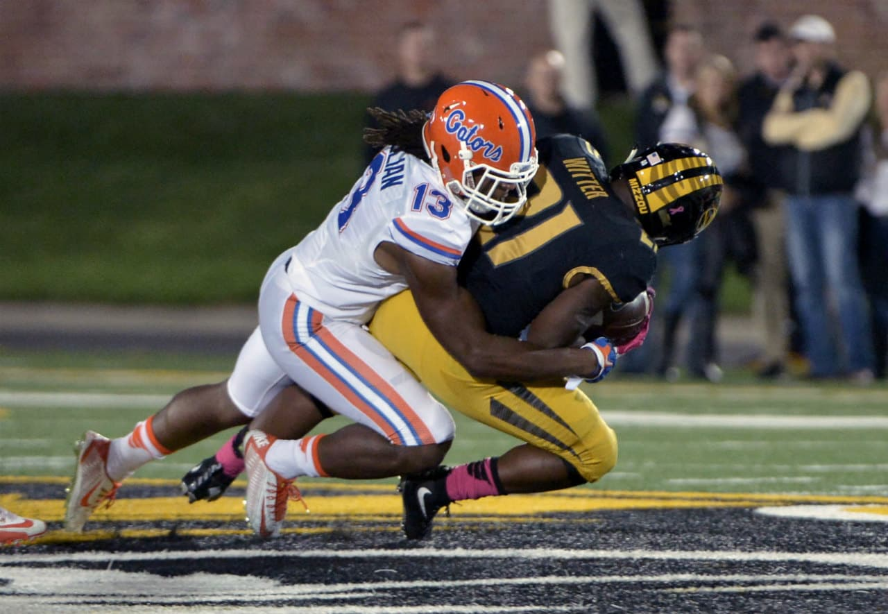 Florida Gators linebacker Daniel McMillian makes the tackle against Missouri - 1280x885