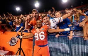 University of Florida freshman defensive lineman CeCe Jefferson celebrates with fans following the Florida Gators 38-10 win over Ole Miss- Florida Gators football- 1280x852