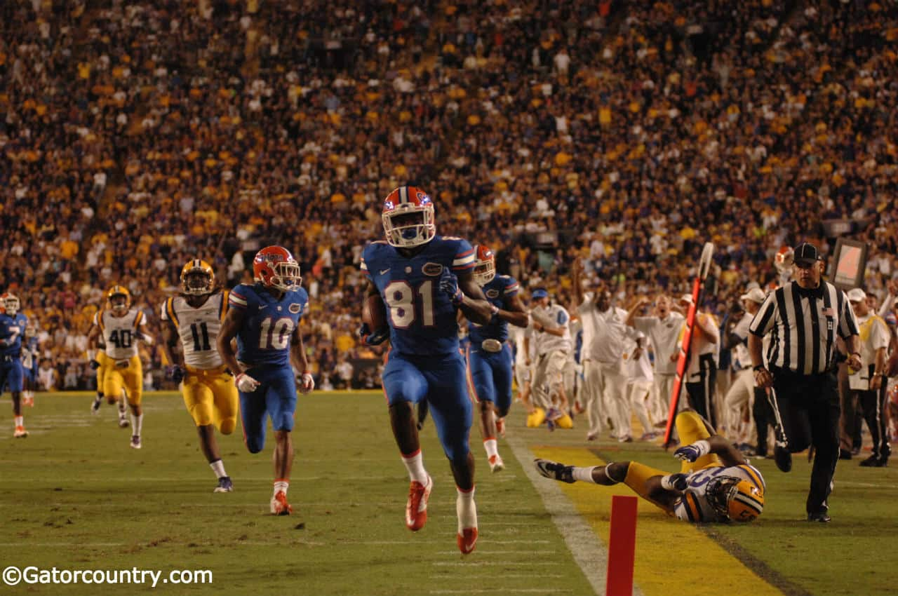 University of Florida freshman reciever Antonio Callaway returns a punt 72-yards for a touchdown against the LSU Tigers- Florida Gators football- 1280x852