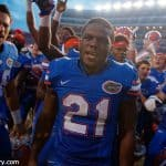 University of Florida junior running back Kelvin Taylor celebrates the Florida Gators comeback win against the Tennessee Volunteers in 2015- Florida Gators football- 1280x854