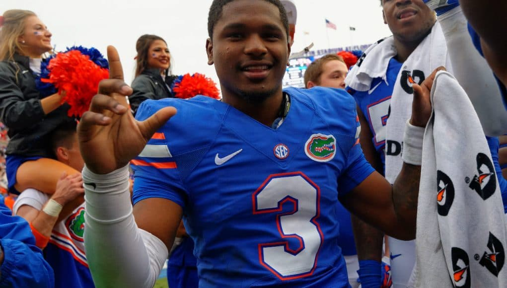 University of Florida quarterback Treon Harris celebrates a win over EKU in 2014- Florida Gators football- 1280x852
