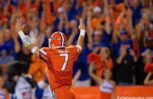University of Florida quarterback Will Grier celebrates one of four touchdown passes against Ole Miss- Florida Gators football- 1280x852
