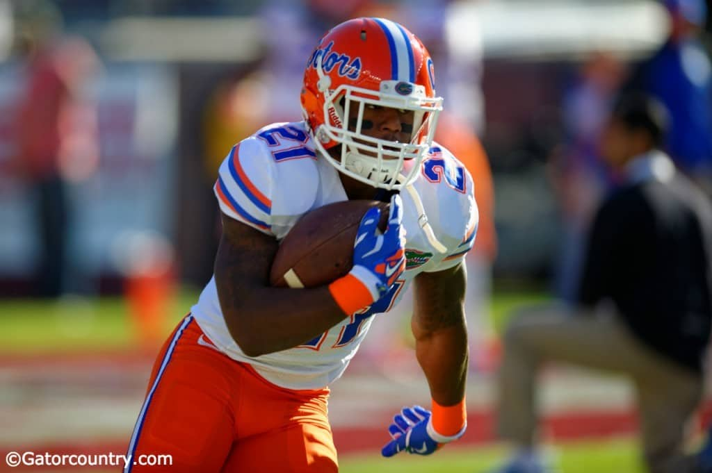 University of Florida running back Kelvin Taylor warms up before the Florida Gators game against the Florida State Seminoles in 2014- Florida Gators football- 1280x852