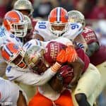 Alex McCalister and Jon Bullard combine to tackle Florida State Seminole running back Dalvin Cook- Florida Gators football- 1280x852