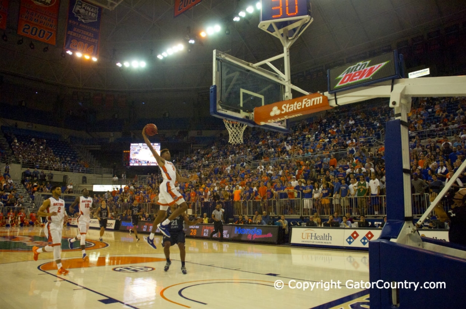 Devin Robinson Dunks vs Palm Beach Atlantic in 2015 Exhibition Win Florida Gators Basketball