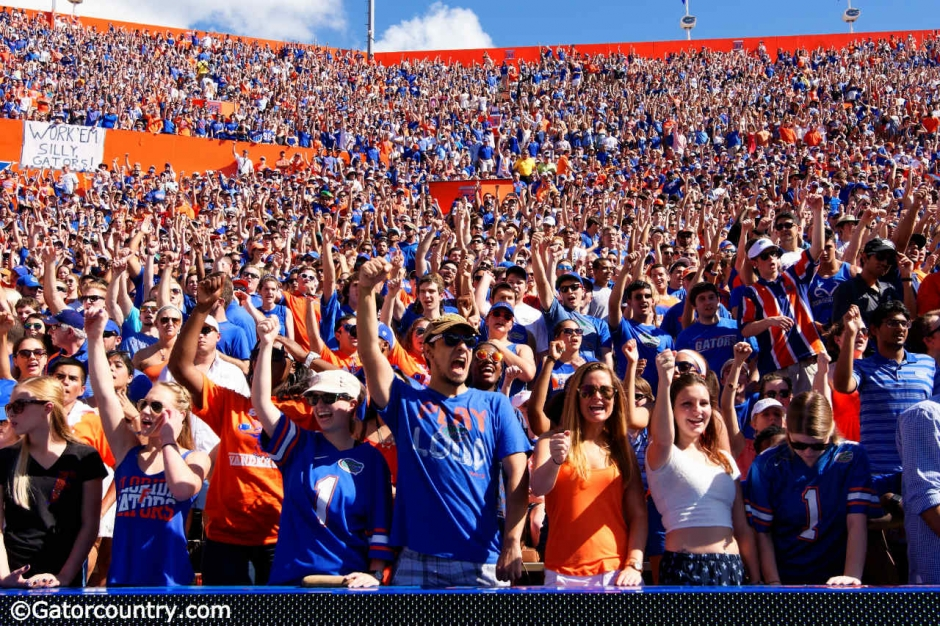 Fans cheer on the Florida Gators football team as they take on the Vanderbilt Commodores during homecoming- Florida Gators football- 1280x853
