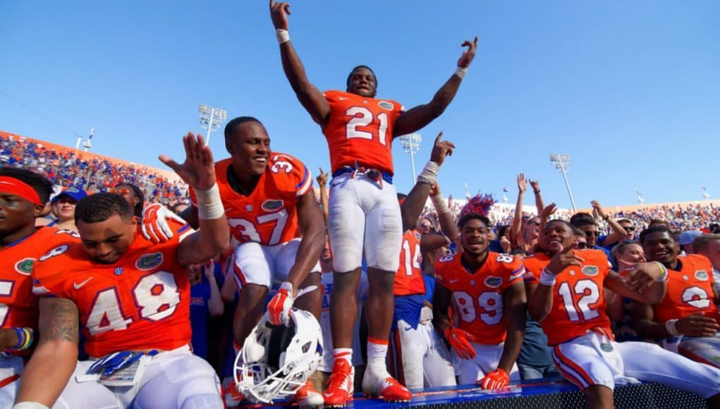 Florida Gators celebrate winning the SEC eastern division championship- 1280x855