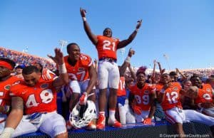 Florida Gators celebrate winning the SEC eastern division championship- 1280x855