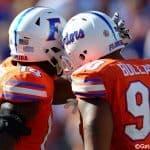 Florida Gators defensive linemen Alex McCalister and Jon Bullard celebrate a sack against Vanderbilt- Florida Gators football- 1280x852