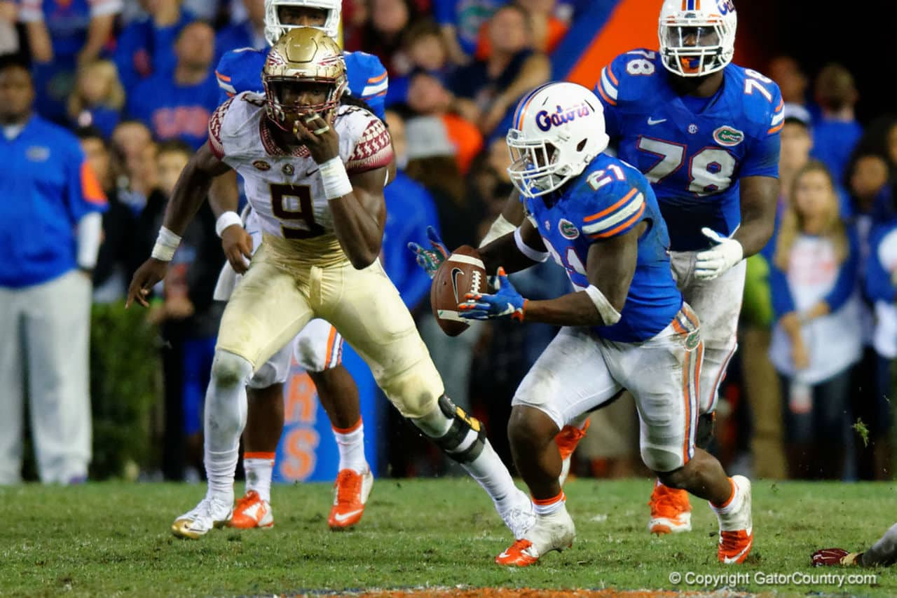 Florida Gators running back Kelvin Taylor runs against FSU in 2015- Florida Gators football- 1280x853