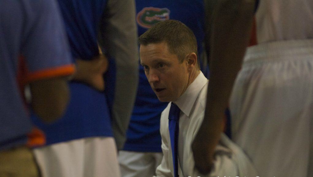 Florida Gators Basketball Coach Mike White in Huddle-Florida vs Palm Beach Atlantic Exhibition