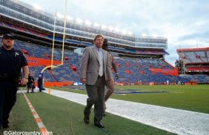 Jim McElwain takes his pre-game walk around the field at Ben Hill Griffin Stadium- Florida Gators football- 1280x852