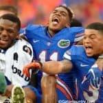 Kelvin Taylor, Demarcus Robinson and Jalen Tabor celebrate the Florida Gators overtime win over FAU- Florida Gators football- 1280x852