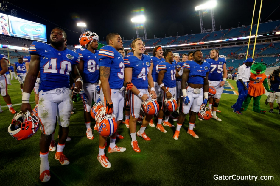 The Florida Gators football team celebrate a win over Georgia- 1280x852