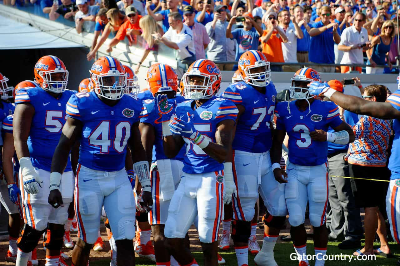 The Florida Gators football team gets ready to enter the field against Georgia - 1280x852
