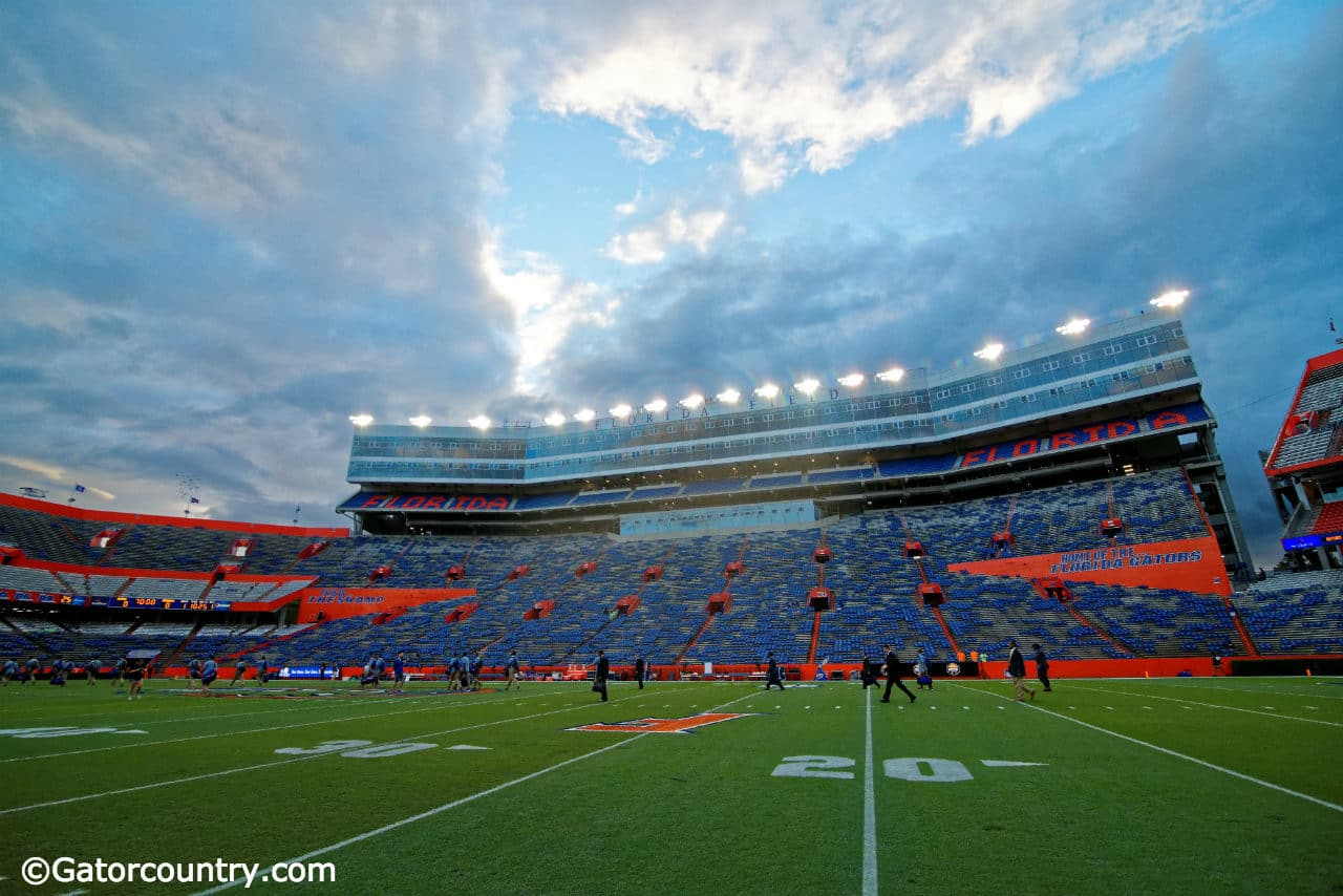 The Florida Gators walk across the filed during Gator Walk before taking on the Florida State Seminoles- Florida Gators football- 1280x852