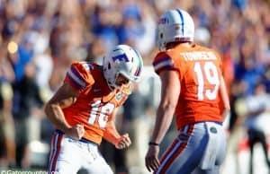 University of Florida kicker Austin Hardin celebrates his 43-yard field goal against vanderbilt- Florida Gators football- 1280x852