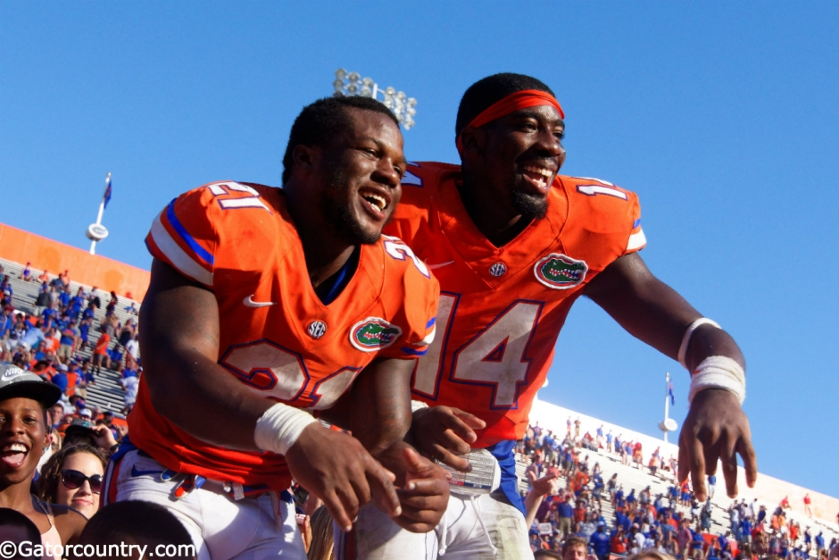 University of Florida players Kelvin Taylor and Alex McCalister celebrate the Florida Gators 9-7 homecoming win over Vanderbilt- Florida Gators football- 1280x852