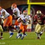 Florida Gators quarterback Treon Harris carries the ball against the Florida Stat Seminoles at Doak Campbell Stadium- Florida Gators football- 1280x852
