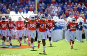 University of Florida running back leads the Florida Gators out on to the field against the Vanderbilt Commodores- Florida Gators football- 1280x852