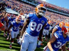 University of Florida tight end C'yontai Lewis runs out on to EverBank Field to take on the Georgia Bulldogs- Florida Gators football- 1280x852