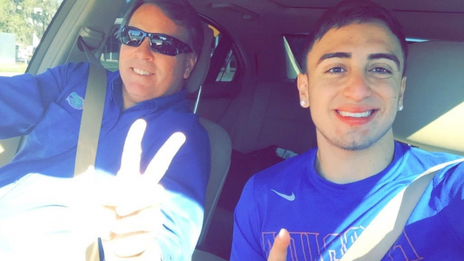 Eddy Pineiro and Jim McElwain on his official visit- Florida Gators recruiting- 1280x720