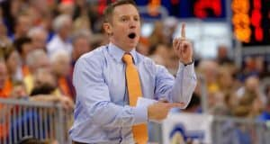 Florida Gators basketball coach Mike White calls a play during the Florida Gators 86-62 win over Vermont on November 25- Florida Gators basketball- 1280x852