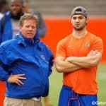 Florida Gators head coach Jim McElwain and redshirt freshman quarterback Will Grier watch high school athletes work out during Friday Night Lights- Florida Gators football- 1280x854