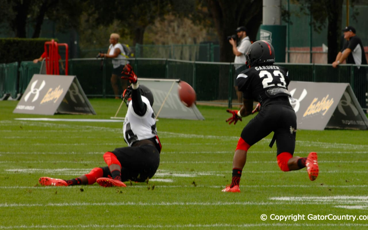 Florida Gators Defensive Back Commit Chauncey Gardner Defends Pass At Tuesday Practice of Under Armour All-American Game