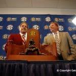 Head Coaches Florida Gators Jim McElwain Alabama Crimson Tide Nick Saban at SEC Championship