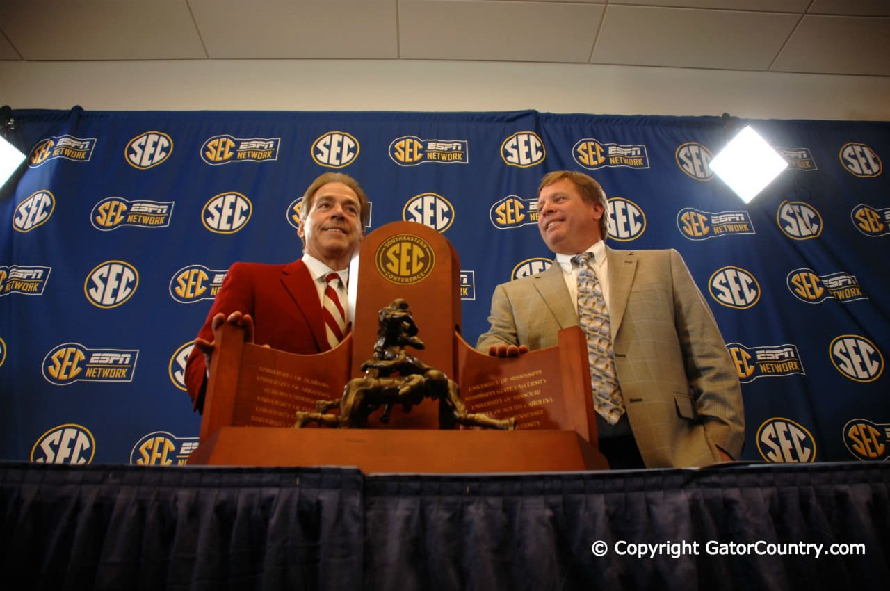 Head Coaches Florida Gators Jim McElwain Alabama Crimson Tide Nick Saban at SEC Championship