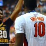 Dorian Finney-Smith looks to inbounds the ball versus West Virginia-Florida Gators Basketball-January 30,2016-GatorCountry.com