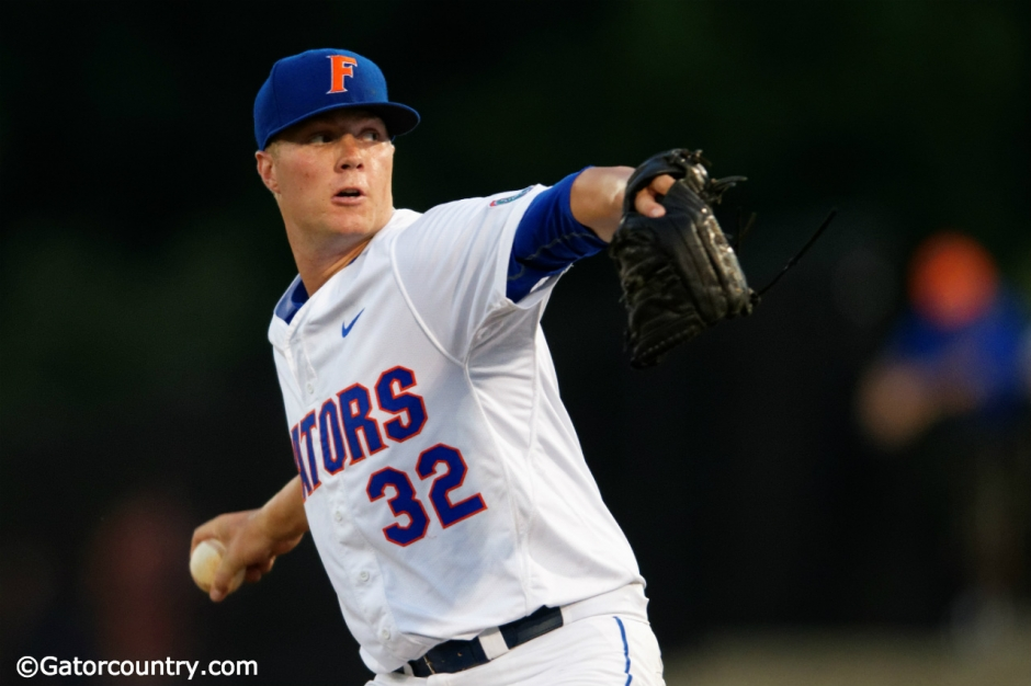 Florida Gators Friday night starter Logan Shore pitches during the 2015 Gainesville Super Regional- Florida Gators baseball- 1280x853