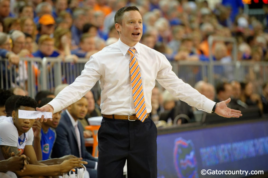 Florida Gators basketball coach Mike White coaches his team during a win over the LSU Tigers- Florida Gators basketball- 1280x852