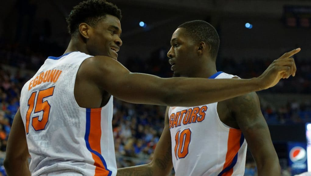 Florida Gators basketball players John Egbunu and Dorian Finney Smith celebrate a basket in an upset win over LSU- Florida Gators basketball- 1280x852