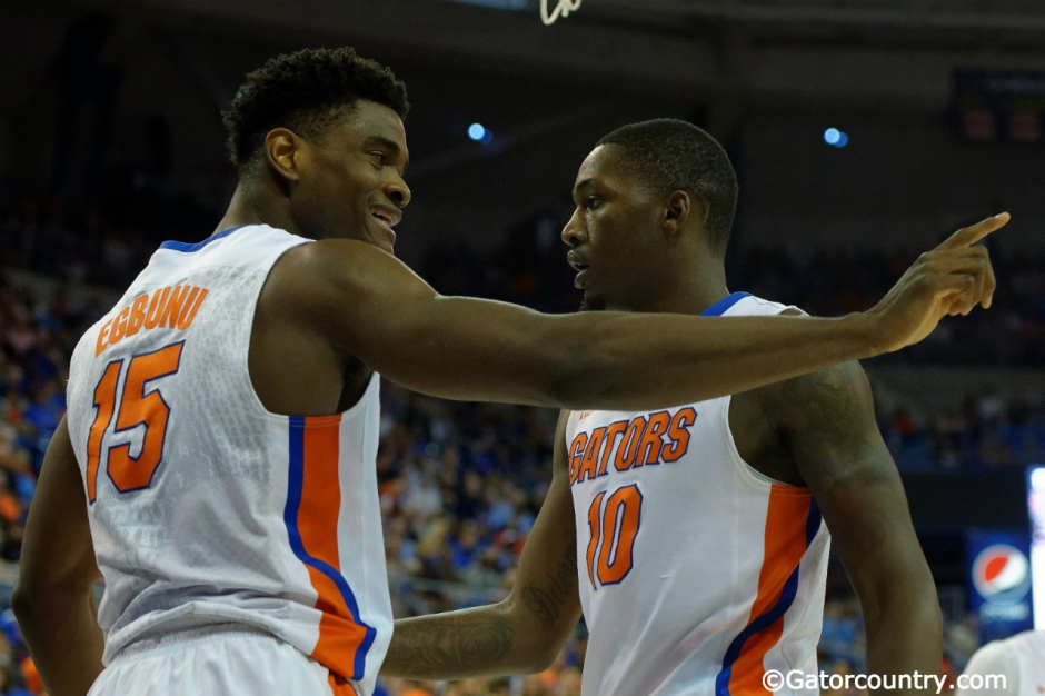 Florida Gators basketball players John Egbunu and Dorian Finney Smith celebrate a basket in an upset win over LSU- Florida Gators basketball- 1280x852