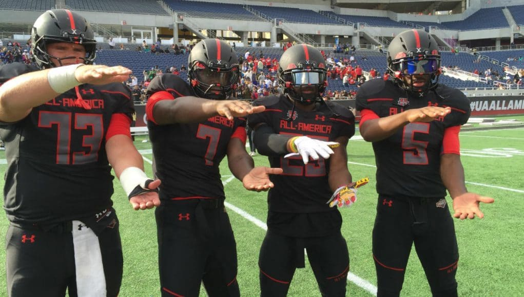 Florida Gators commits doing the Gator Chomp after the Under Armour game- 1280x960