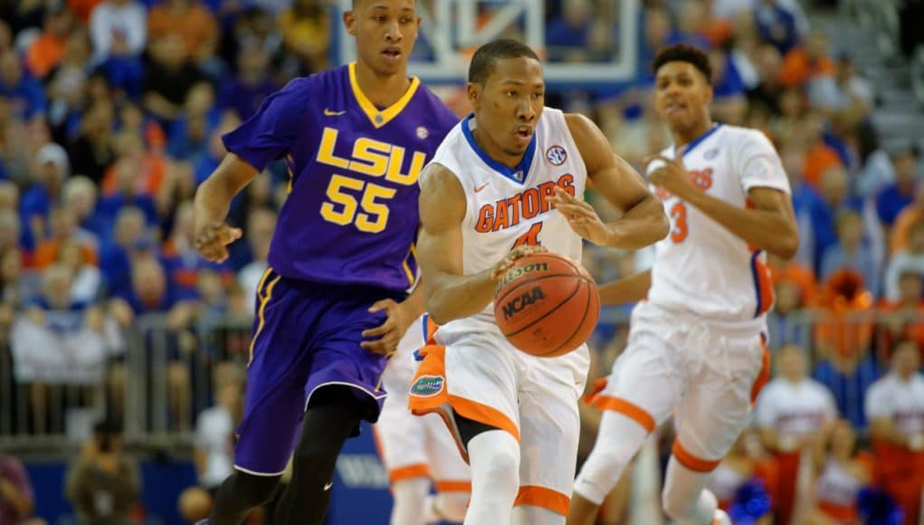 Florida Gators freshman guard KeVaughn Allen dribbles up the court in a win over the LSU Tigers- Florida Gators basketball- 1280x852