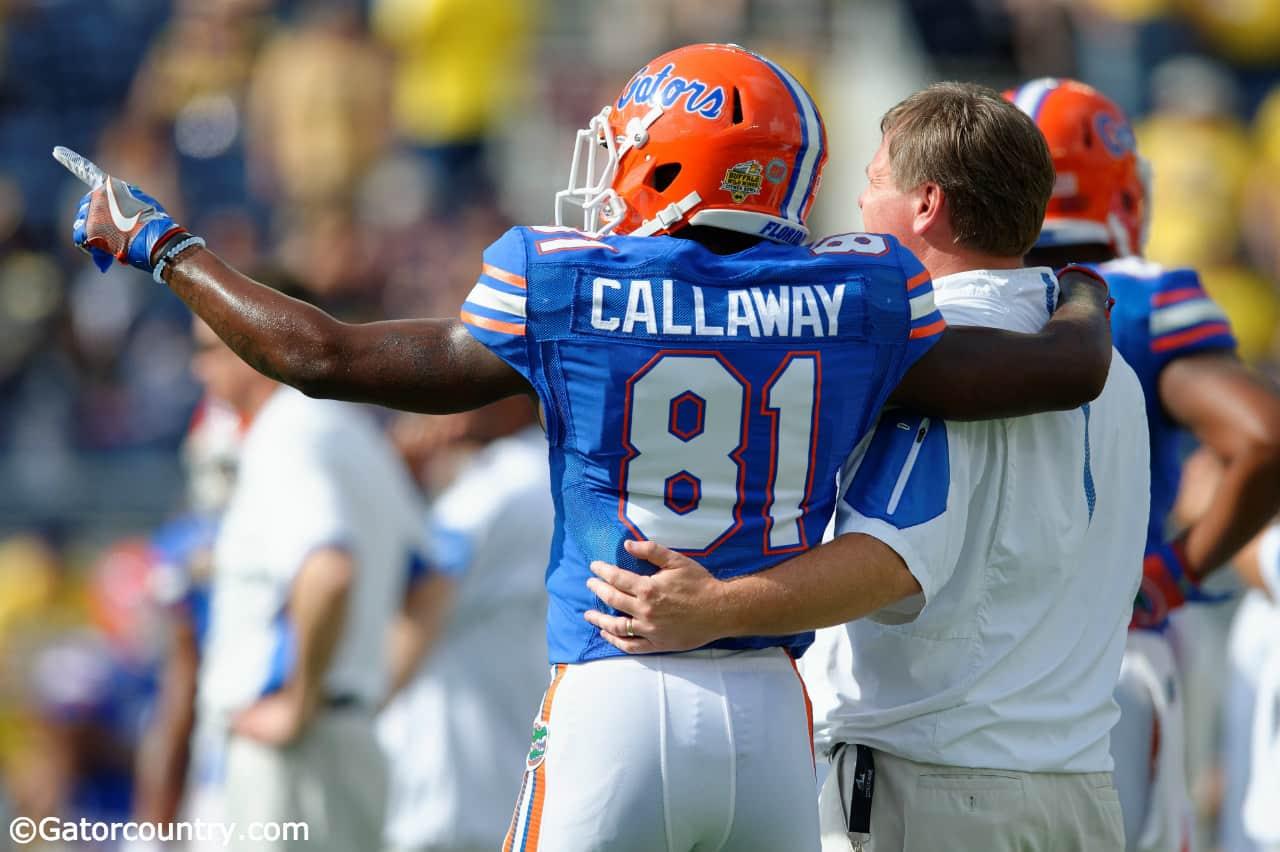 Florida Gators freshman receiver Antonio Callaway and Jim McElwain before the Buffalo Wild Wings Citrus Bowl- Florida Gators football- 1280x852