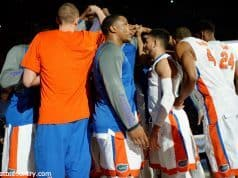The Florida Gators basketball team huddles up before their contest against the LSU Tigers- Florida Gators basketball- 1280x852