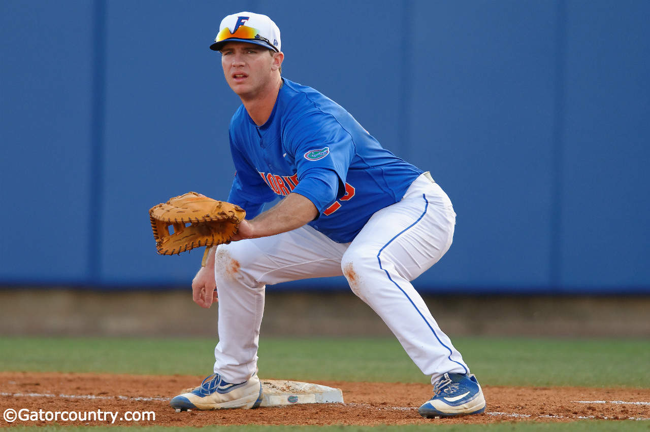 Florida Gators first baseman Peter Alonso gets set at first base in a win against Florida Gulf Coast University to start the season 2-0- Florida Gators baseball- 1280x852