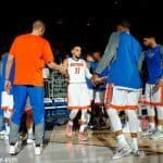 Florida Gators guard Chris Chiozza is introduced before the Florida Gators basketball game against the LSU Tigers- Florida Gators basketball- 1280x852