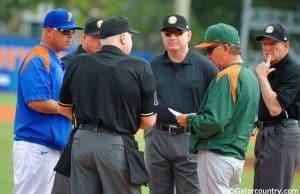 Florida Gators head baseball coach Kevin o'Sullivan meets with Miami Hurricanes head coach Jim Morris before the Canes and Gators game in 2015- Florida Gators baseball- 1280x852