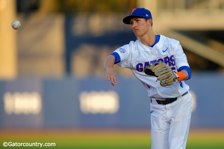 Florida Gators infielder Dalton Guthrie throws the ball home before the Florida Gators game against the Florida State Seminoles- Florida Gators baseball- 1280x852