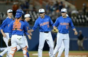 Florida Gators junior pitcher Frank Rubio celebrates the final out in an 8-4 win over Florida Gulf Coast University- Florida Gators baseball- 1280x852