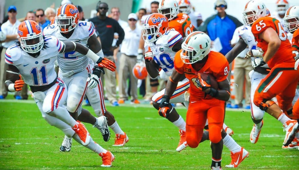 Florida Gators linebacker Neiron Ball pursues Miami Hurricanes running back Duke Johnson in a loss to Miami- Florida Gators football- 1280x849