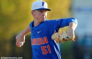 Florida Gators pitcher Brady Singer pitching in a win against Florida Gulf Coast University to start the season 2-0. February 20th, 2015- Florida Gators baseball- 1280x851