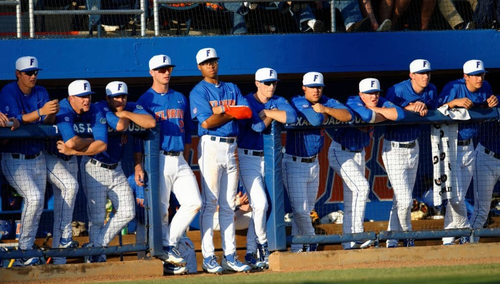 The Florida Gators watch on from the dugout in a win against Florida Gulf Coast University to start the season 2-0. February 20th, 2015- Florida Gators baseball- 1280x852