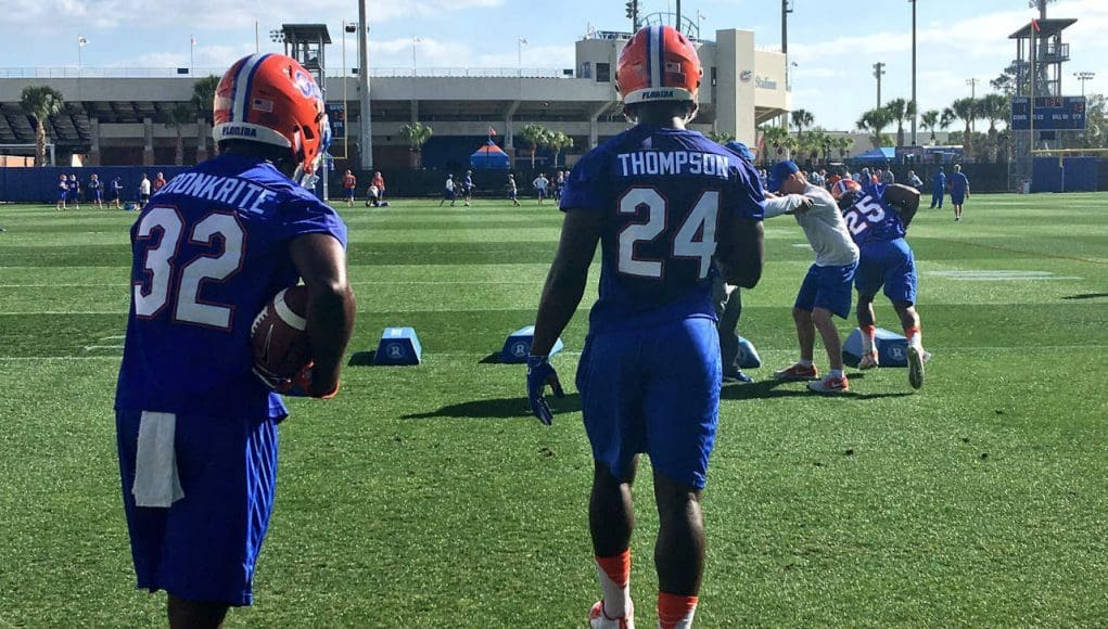 Florida Gators running back Mark Thompson goes through drills during his first official practice as a Gator- Florida Gators football- 1280x960